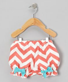 Take a look at this Coral Zigzag Bow Bloomers - Infant by Caught Ya Lookin' on #zulily today!