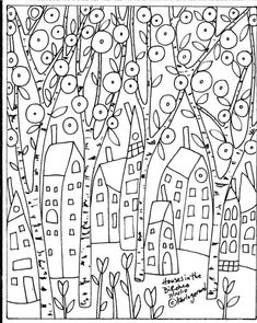 Image result for primitive coloring pages of houses in the country
