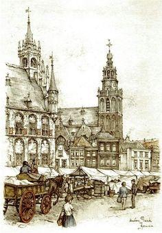 Gouda by Anton Pieck Nocturne, Anton Pieck, City Painting, Art Folder, Dutch Painters, Dutch Artists, Gouda, Gravure, Architecture