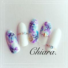 white purple nail art