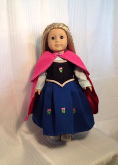 """Disney inspired Frozen Princess Anna American Girl or 18"""" doll costume. on Etsy, $39.00"""