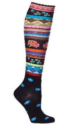 Womens Garden Party Knee High Sock - Black
