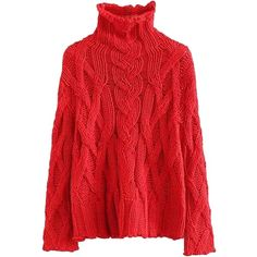 'Anny' High-neck Cable-knit Sweater (2 Colors) (¥7,825) ❤ liked on Polyvore featuring tops, sweaters, cable knit sweater, red sweater, high neckline tops, red top and high-neck tops