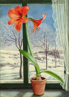 '' Still-Life With Amaryllis at the window '', (Stilleben mit Amaryllis am Fenster), 1939 oil and tempera on masonite by Barthel Gilles – n. Colorful Paintings, Beautiful Paintings, Ours Grizzly, George Grosz, Degenerate Art, Amaryllis, Object Drawing, Container Flowers, Winter Art