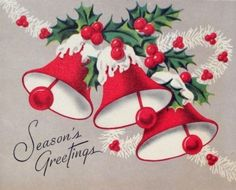 Festive Bells & Garland-Vintage Christmas Greeting Card by lola Images Vintage, Vintage Christmas Images, Old Christmas, Old Fashioned Christmas, Christmas Scenes, Retro Christmas, Christmas Bells, Vintage Holiday, Christmas Pictures
