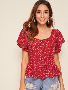Product name: Confetti Heart Print Ruffle Hem Blouse at SHEIN, Category: Blouses Dressy Tops, Summer Blouses, How To Roll Sleeves, Blouse Dress, Blouses For Women, Women's Blouses, Types Of Sleeves, Pullover, Fashion Outfits