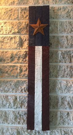 Simple Star Flag made from old lath board.  Stained red white & blue.