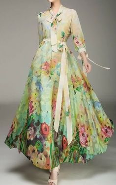 Floral-maxi-long-sleeved-dress-images Maxi Dresses www. Long Gown Dress, Chiffon Maxi Dress, Maxi Dress With Sleeves, Floral Maxi Dress, Sleeved Dress, Long Frock, Beautiful Maxi Dresses, Pretty Dresses, Indian Gowns Dresses
