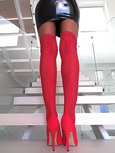 NEU HOHE Lange Overknee Stretch Strümpfe Stiefel Rot Z76 Schuhe Boots High  Heels b55cced099