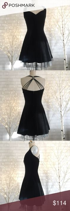 🎆Black Velvet Dress NWOT Beautiful soft Velvet dress with tule picking out the bottom.   No size tag (see measurements for fit) will fit size (7-8)  90% polyester 10%Spandex zipper back   Ⓜ️chest 36 Ⓜ️waist 26 Ⓜ️length 38  ✅Bundle and save  ✅🚭 ✅ all reasonable offers will be considered 🚫No Trading 🙅🏻 Poshmark rules only‼️ Betsey Adams  Dresses Midi