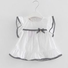 Adorable Round Collar Short-sleeve Dress for Girls