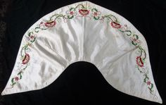 "It dates to between 1825 and 1835 with a little wiggle room for dates. Fichus and pelerines were often pinned to the gown, sometimes with flowers. This one has no closures and no indication that it ever did. Silk; 12"" at center back, 5"" on the shoulder piping; 15"" from shoulders to front points; ebay seller: sadira33610"
