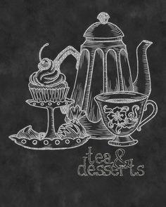 This kind of chalkiness to the board Wall Art- Kitchen Chalkboard Print -Chalkboard Typography-Tea & Desserts Print 8 x Chalkboard Typography, Blackboard Art, Kitchen Chalkboard, Chalkboard Print, Chalkboard Drawings, Chalk Lettering, Chalkboard Designs, Chalk Wall, Chalk Board
