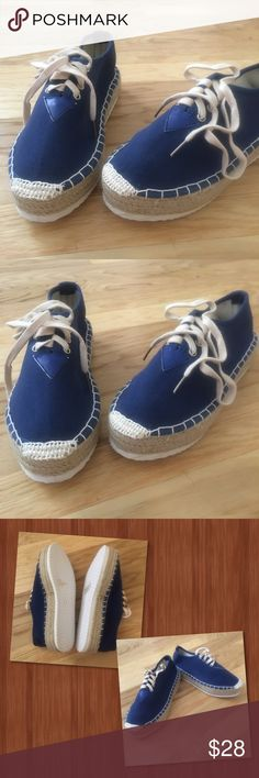 """Navy Blues Canvas navy blue lace up sneaker. They run a size smaller, although the box says 8 1/2 they fit as a 7 1/2.  Hipster style having a 1.5"""" platform very lightweight shoes. Shoes"""
