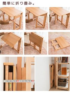 Folding Table Diy, Folding Desk, Folding Furniture, Furniture Projects, Home Furniture, Furniture Design, Space Saving Table, Space Saving Furniture, Diy Bedroom Decor