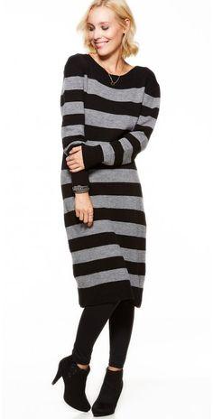 LikeLondon klänning stickad klänning randig svart-grå f3a5013ad5475