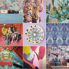 Happy Design: @michelleogundehin Instagram moodboard featuring images from Gucci, Peter Pilotto, Lelievre, Matthew Williamson, Osborne & Little and artist Les Rogers.