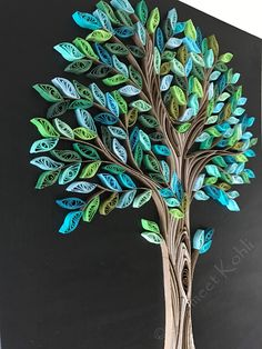 Items similar to Spring Tree quilling// decorative wall art //tree home decor // green tree quilling art on canvas // Quilled wallpiece//paper filigree on Etsy Arte Quilling, Paper Quilling Cards, Paper Quilling Flowers, Paper Quilling Patterns, Quilled Paper Art, Quilling Craft, Art Flowers, Quilling Tutorial, Tree Wall Art
