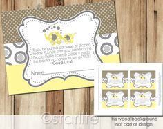 Elephant Baby Shower Diaper PRINTABLE Raffle Tickets - 4x3 size  - Yellow Gray Brown - Neutral - Baby Shower  - INSTANT DOWNLOAD