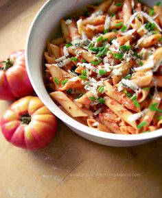Tomato, Blue Cheese penne pasta (site in Polish - scroll down for English.)