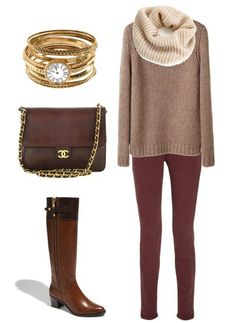Neutrals, waffle sweater, infinity scarf, burgundy denim, knee-high boots, purse, gold accent jewelry