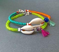Cowrie Shell bracelet - Turquoise and orange - Turquoise tassel - Natural cowrie shell - Sterling silver - Handmade - Summer bracelet - boho by AvitalKatzArt on Etsy