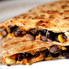 Corn and Black Bean Quesadillas - Vegan
