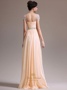 Peach Chiffon Beaded Cap Sleeve Ruched Bodice Prom Gown With Side Drape | Linda…