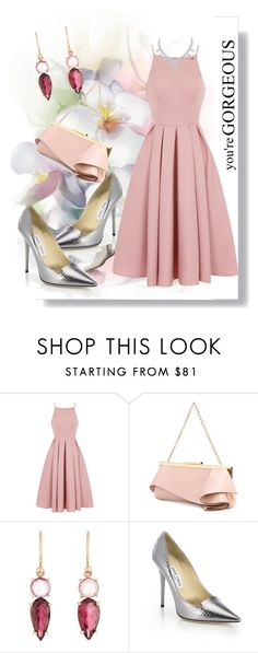 """""""Pink details"""" by vilmamartini ❤ liked on Polyvore featuring Artista, Chi Chi, Emanuel Ungaro, Irene Neuwirth, Jimmy Choo and Pink"""