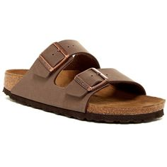 Birkenstock Arizona Sandal ($100) ❤ liked on Polyvore featuring shoes, sandals, brown, slip on shoes, brown slip on shoes, birkenstock sandals, birkenstock footwear and pull on shoes