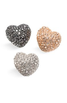 OMG! Marc + rings + hearts + pewter, rose gold and silver = obsessed