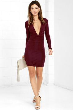 Lulus Exclusive! Give your curves the attention they deserve with the Curves Ahead Wine Red Bodycon Dress! Soft and stretchy jersey knit forms a plunging V-neckline framed by fitted long sleeves. Bodycon skirt features a ruched front panel for a figure-flattering finish.