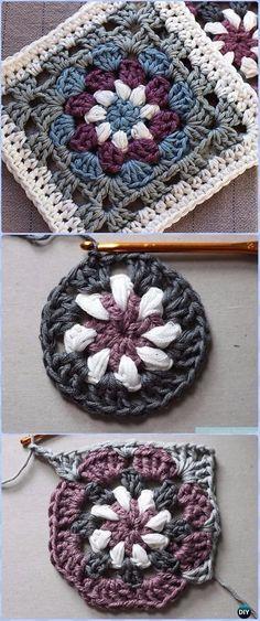 Crochet Mandala Pattern, Granny Square Crochet Pattern, Crochet Squares, Crochet Blanket Patterns, Crochet Square Blanket, Afghan Patterns, Crochet Blankets, Crochet Easter, Crochet Crafts