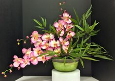 Exotic Floral: Pink Orchids and Bamboo on black river rock filled ceramic mint green bowl. Original design and arrangement by http://nfmdesign.synthasite.com/