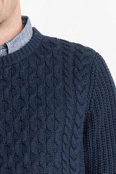 Men's Meridian Aran Cable Crewneck Sweater from Lands' End