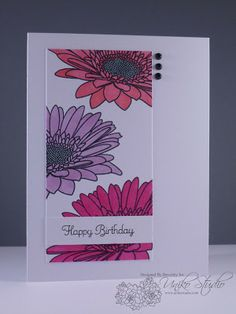 Uniko Studio: Pastel Gerberas Gerbera Flower, Birthday Cards, Happy Birthday, Studio Cards, Gerber Daisies, Quick Cards, Clear Stamps, Homemade Cards, Making Ideas