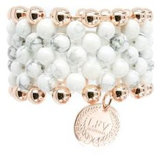 Love From Venus White Howlite and Rose Gold Plated Ball Cuff on www.lilyandmitchell.com.au