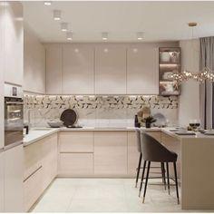 36 Popular Simple Kitchen Decor Ideas You Should Try Simple Kitchen Design, Kitchen Room Design, Luxury Kitchen Design, Home Decor Kitchen, Interior Design Kitchen, New Kitchen, Home Kitchens, Kitchen Modular, Modern Kitchen Cabinets