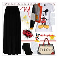 """""""Mickey Mouse"""" by mcheffer ❤ liked on Polyvore featuring York Wallcoverings, Tabitha Simmons, Hallhuber, Disney, Moschino, The Bradford Exchange, maxiskirt, leatherjacket, mickeymouse and graphictee"""