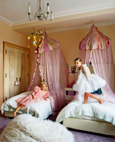 Soft and pretty girls rooms with beautiful canopy beds.