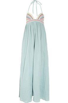 MARA HOFFMAN  Embroidered cotton-voile maxi dress
