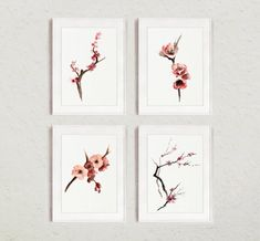 Set of Cherry blossom watercolor painting, Pink tree Art Print, Nursery wall decor, Abstract flowers Set of 4 Cherry blossom watercolor painting by ColorWatercolor Cherry Blossom Nursery, Pink Cherry Blossom Tree, Cherry Blossom Watercolor, Blossom Trees, Pink Trees, Pink Flowers, Paper Tree, Abstract Flowers, Painting Flowers