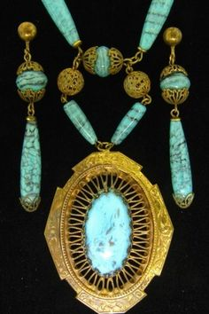 ANTIQUE LAVALIER TURQUOISE ART GLASS BEAD FILIGREE GILDED BRASS DECO NECKLACE