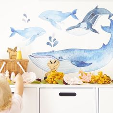 Our Whale set creates an underwater adventure for any little ones room.  The beautiful water colours will complement any space. Get your set today! Flower Wall Decals, Kids Wall Decals, Butterfly Wall Stickers, Watercolor Whale, Watercolour, Boy Toddler Bedroom, Watercolor Effects, Bedroom Decor, Bedroom Ideas