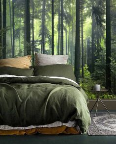 Self Adhesive Wallpaper Removable Wall Mural Peel Stick Wall Paper Green Wallpaper Mural Forest Temporary Wallpaper Forest Wall Decal 69 Forest Wallpaper Removeable Wallpaper Wallpaper Mural Etsy Forest Theme Bedrooms, Forest Bedroom, Bedroom Themes, Bedroom Decor, Woodsy Bedroom, Nature Bedroom, Bedroom Interiors, Gold Bedroom, Queen Bedroom