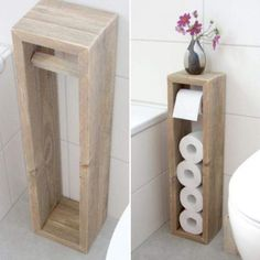 diy bathroom decor 45 DIY Toilet Paper Holder and Storage Ideas Diy Toilet Paper Holder, Toilet Paper Storage, Over Toilet Storage, Diy Rangement, Small Bathroom Storage, Small Bathroom Ideas, Small Storage, Bath Ideas, Bathroom Hacks
