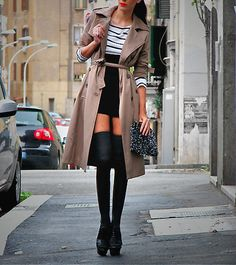 I love thigh-high anything, and the trench? yes please!