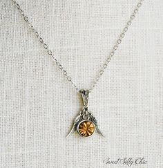 Elegant Golden Snitch Inspired Necklace, Harry Potter Jewelry, Yellow Topaz Silver Wing Necklace, Harry Potter Gift