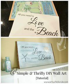 Love & the Beach - DIY Sign Tutorial - Before-After - artsychicksrule.com #thrifty #homedecor #beach #sign #coastal #diy