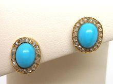 Victorian 18K Gold Turquoise Diamond rose cut Stud Earrings